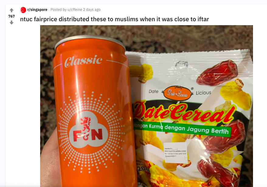 FactCheck]: Is NTUC giving away snacks and beverages to muslims to