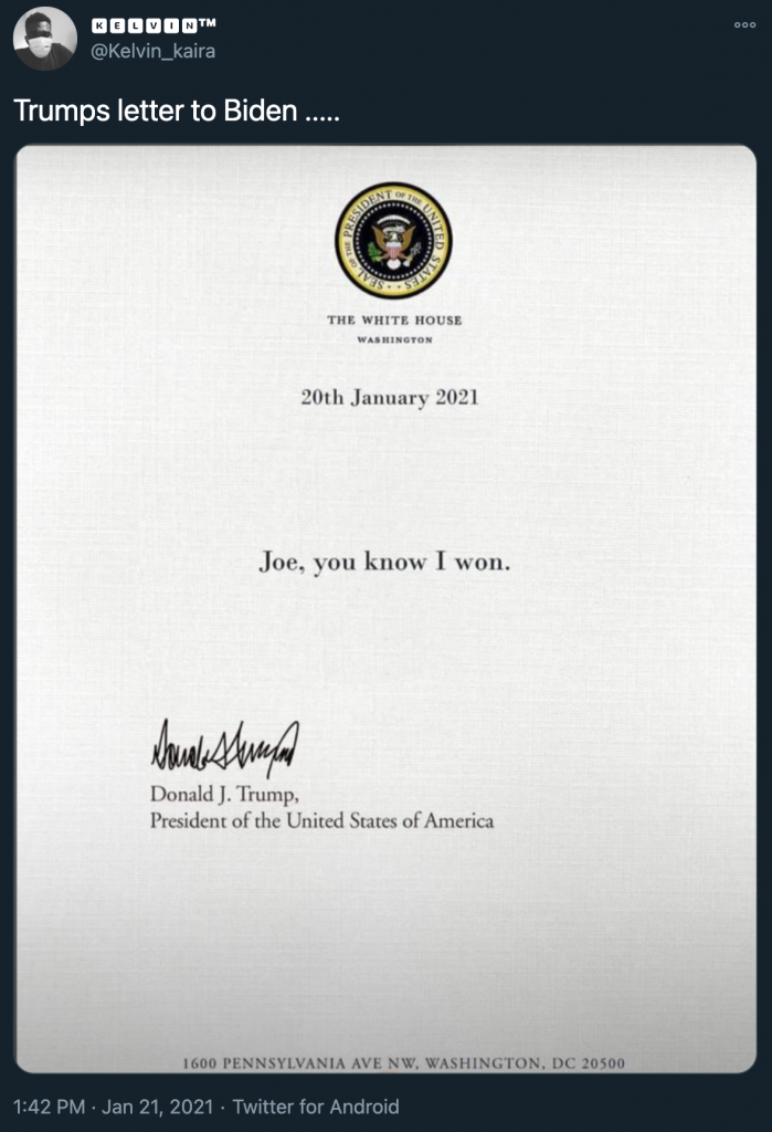 did donald trump write 'joe you know i won' in his letter
